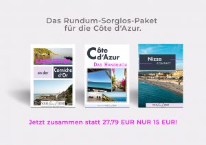 """Das Paket besteht aus 3 Guides zu den Themen """"Badestellen an der Corniche d'Or"""", """"Das Handbuch"""" und """"Nizza kompakt"""". Schau gleich mal rein."""